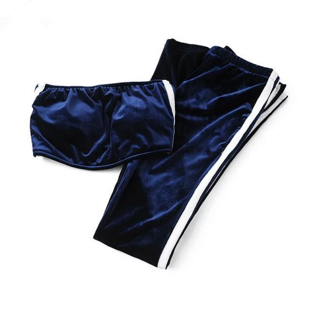 17 Women Tracksuit Velet Two Piece Set Fashion Suit Sexy Stripe Tube Top And Flare Trousers Candy Color 16