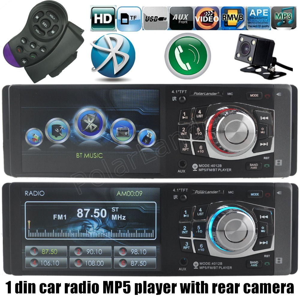 Car Audio MP4 MP5 player Bluetooth radio stereo USB TF FM steering wheel remote control with rear camera 1 din 4.1 inch AUX 2015 new support rear camera car stereo mp3 mp4 player 12v car audio video mp5 bluetooth hands free usb tft mmc remote control