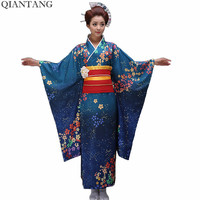 Hot Sale Fashion Women Kimono Yukata Haori With Obi Japanese Style Evening Party Dress Asian Clothing Flower One Size HW043