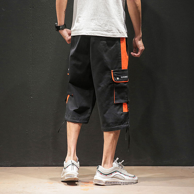 Streetwear Calf Length Pants Patchwork Multi Pockets Men 39 s Pants Elastic Waist Large Size Black Gray Calf Length Pants in Casual Pants from Men 39 s Clothing