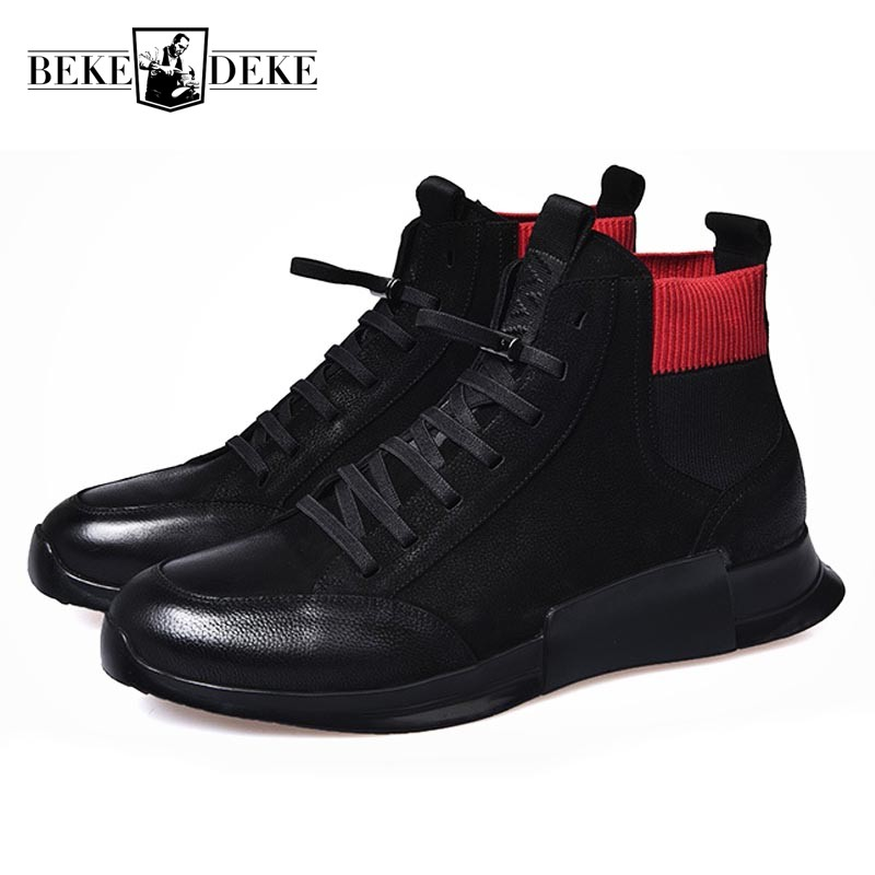 Winter Fleece Lining Mens  Shoes High Top Thick Platform Lace Up Ankle Boots Patchwork Genuine Leather Man Casual FootwearWinter Fleece Lining Mens  Shoes High Top Thick Platform Lace Up Ankle Boots Patchwork Genuine Leather Man Casual Footwear
