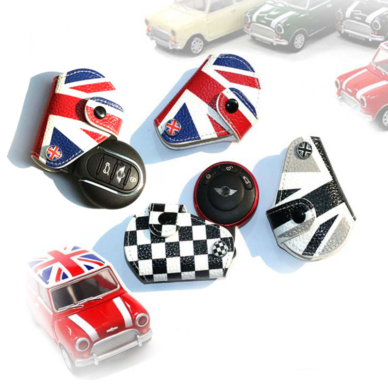 Leather Union Jack Fob Key Case Bag Cover Holder For Mini Cooper Countryman Clubman R55 R56 F55 F56 F60 Car Styling Accessories