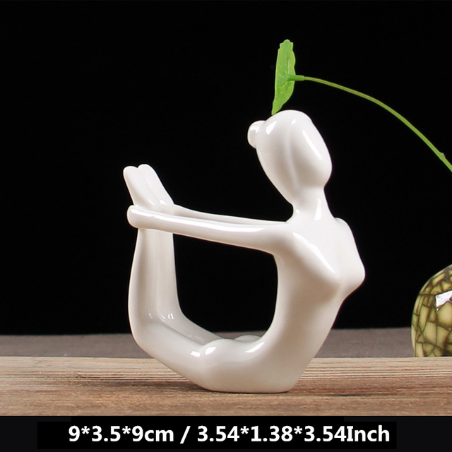 VILEAD 12 Styles White Ceramic Yoga Figurines Ename Yoga Miniatures Abstract Yog Stattues Yoj Figurines Vintage Home Decor 5