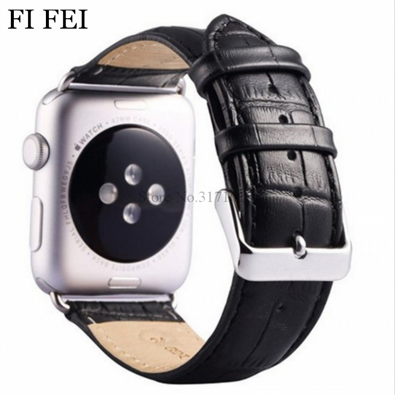 FI FEI Crocodile Leather Watchband for Apple Watch 38mm 42mm Series 1 2 3 Sport / Edittion Strap Wrist Belt Bracelet Adapters