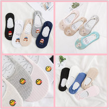 Spring and Summer Boat Socks Cartoon Embroidery Invisible Women Socks Japanese Funny Cute short Ankle Socks Silicone Anti-skid цены