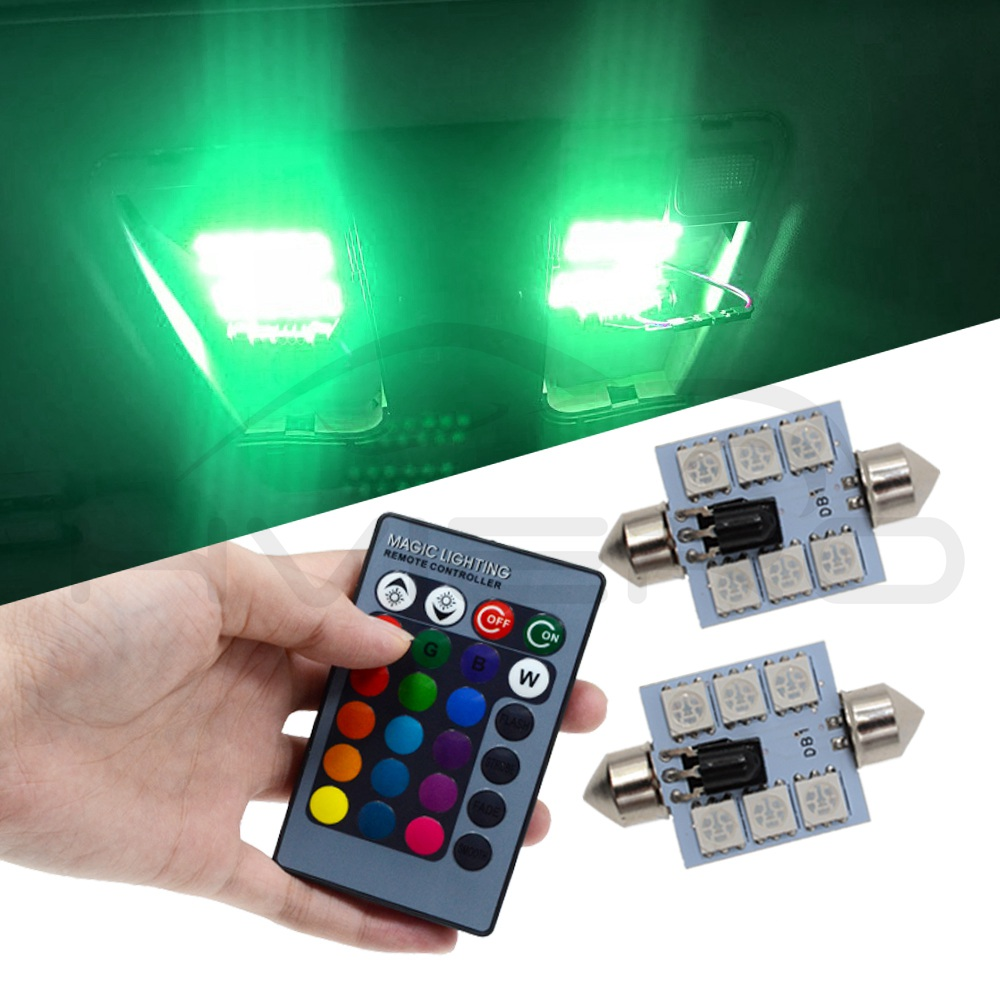 T10 RGB Car Led C5W 39mm 5050 6SMD Festoon Dome Door Multi Color Light Remote Controlled Colorful Lamp Roof Trunk Wedge Bulbs