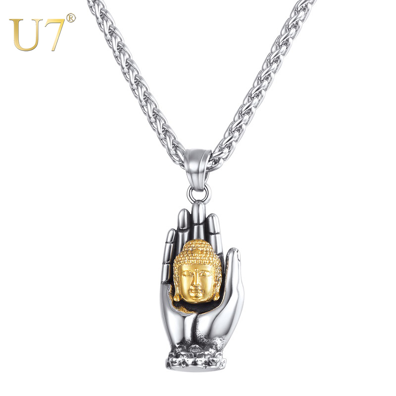 U7 Gold Buddha Necklace Men Hand Palms Pendant Necklace Stainless Steel Trendy Jewelry Necklaces for Women Gifts Wholesale P1163