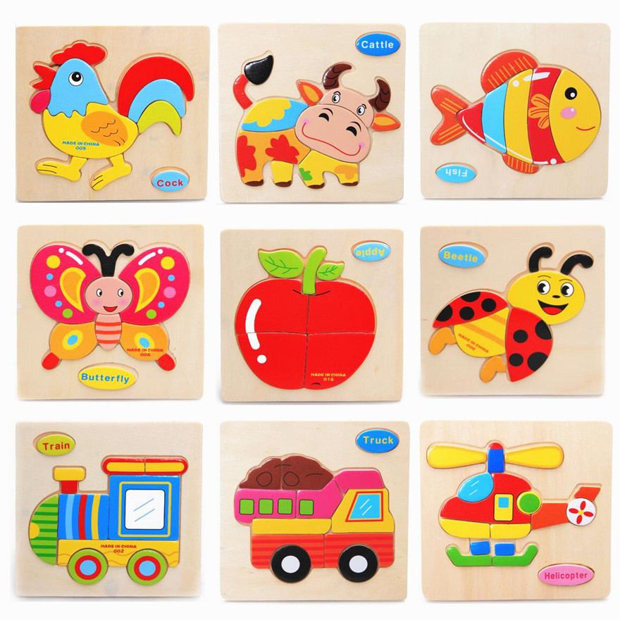 MUCHEN 9 Pcslot Wooden Puzzle Educational Toys Child Game