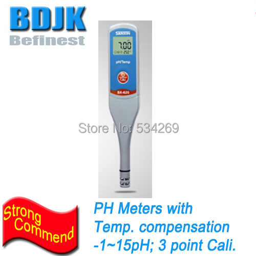 -1~15PH Pen Type Digital PH Meters with Temperature Display & 3 Points Auto Calibration