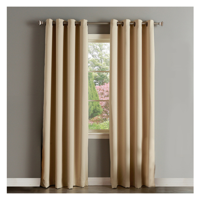 Extra Long 100 Microfiber Solid Insulated Thermal Blackout Curtains 52 By 95 Inch Set Of 2 Panels Top Grommets Beige