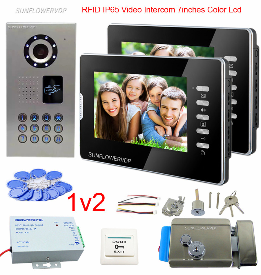 Rfid Doorphones For A Private House 2 Apartments 7 Color Monitor Video Phone IP65 Waterproof Doorbell With Electronic Lock Kit private l a