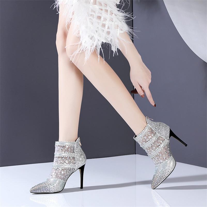 Bling Través A Zapato Mujeres Botas Nueva Malla De Verano Boda Rojo Ver Mujer Tacones Sexy Strass Buono Scarpe blanco Tobillo Llegada qFxBS