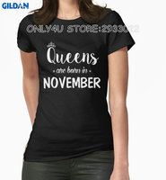Gildan Only4U Tailored Shirts Short Sleeve Print Queens Are Born In November Cotton Short Sleeve Shirts