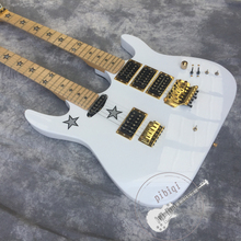 Free transportation, double neck electric guitar 6/6 string, white body, star fingerboard, vibrato system, customizable!