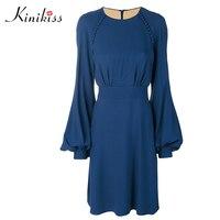 Kinikiss Women Casual Fall Dress Solid Blue A Line Sexy Above Knee Full Sleeve Dress Elegant