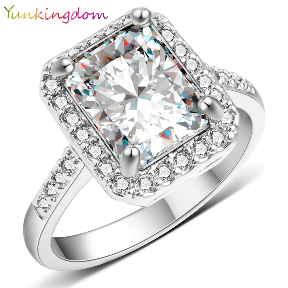 Yunkingdom Klasik Persegi Wedding Ring Big Cubic zirconia Kristal Rings untuk Wanita Fashion Brand Engagement Jewelry X0040