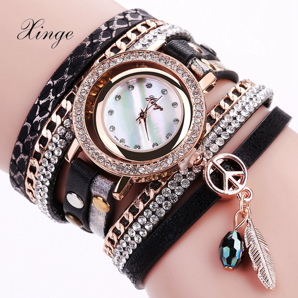 цены Xinge Women Brand Luxury Rose Leather Watch Quartz Women Dress Bracelet Watch Gift Clock Fashion Business Ladies Sport Watch