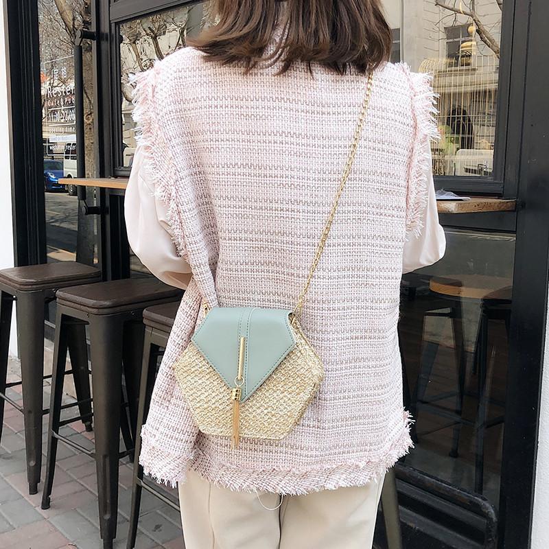 Hexagon Mulit Style Straw+leather Handbag Women Summer Rattan Bag Handmade Woven Beach Circle Bohemia Shoulder Bag New Fashion 9
