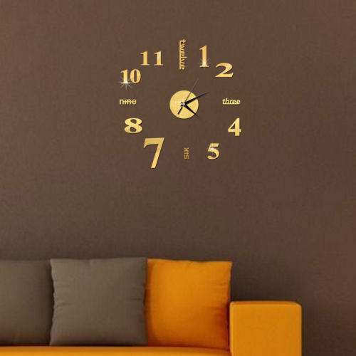 diy analog 3d mirror surface large number clock wall stickers modern