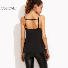 COLROVIE Summer New Style Black Lace Patchwork Hollow Out Back Cami Top Women Sexy Spaghetti Strap Camisole
