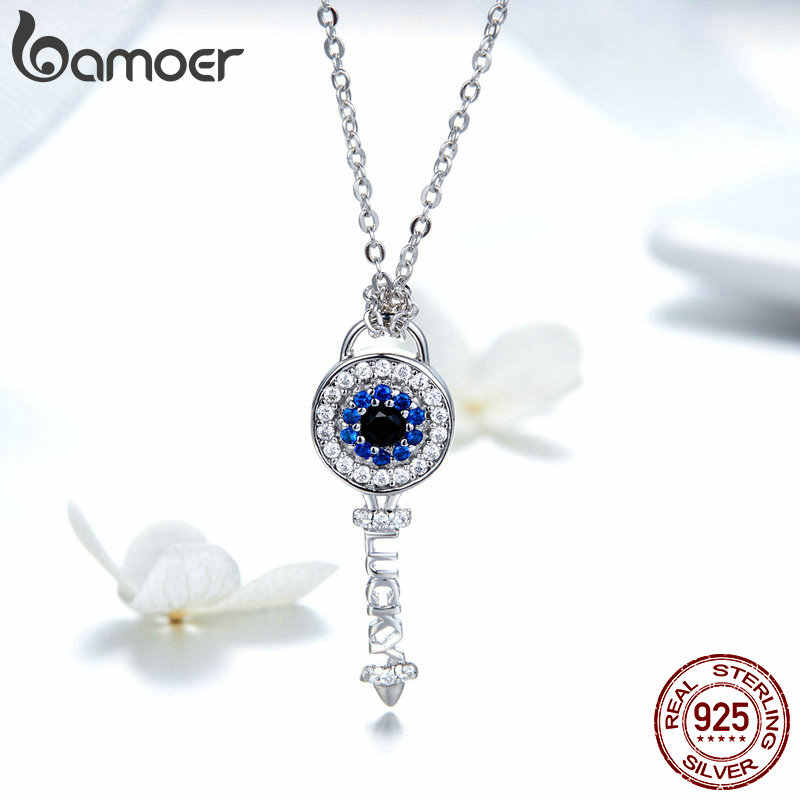 BAMOER High Quality 925 Sterling Silver Crystal Key  Cubic Zircon Necklace Earrings Jewelry Set for Women Fine Jewelry ZHS075