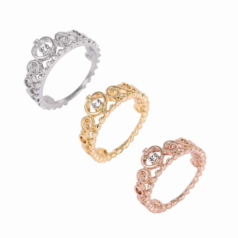 4287b2a9c Korean Style Retro Crystal Drill Hollow Crown Shaped Queen Temperament Pandora  Rings For Women Party Pandora