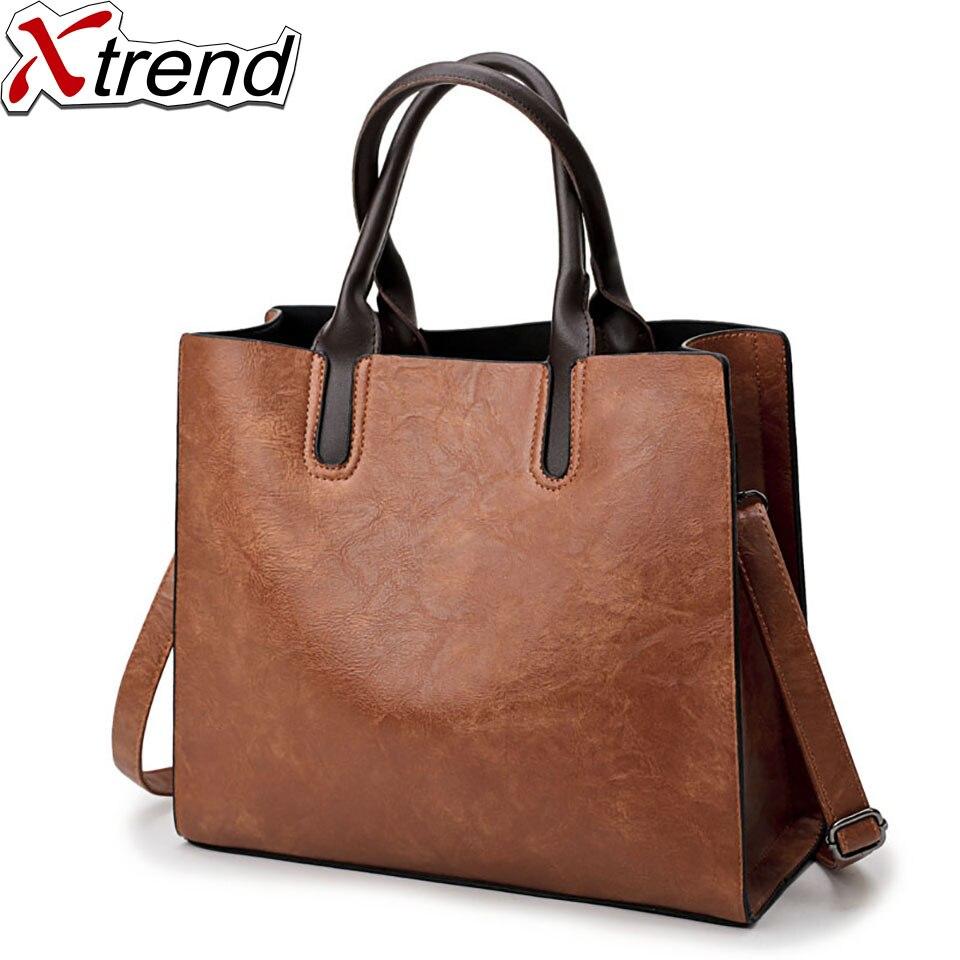 цена на Xtrend Black Red Gray Brown  2018 Fashion Women Bag Ladies Brand Leather PU Handbags Casual Tote Bag Big Shoulder Bags For Women