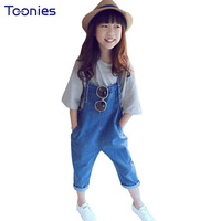 Newest Summer Girls Pants Kids Casual Jeans Light Washing Children Denim Pant Solid Color Haren Child
