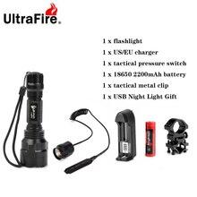 Ultrafire C8 светодиодный XM-LT6 1 Режим 18650 вспышка светильник перезаряжаемый аккумулятор 1200лм вспышка светильник Тактический LUZ передатчик лампа