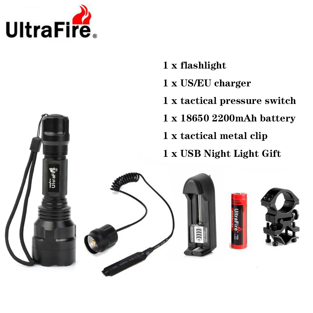 Ultrafire C8 LED Flashlight XML-T6 5 Mode Remote Tactical Flashlight Camping Lantern Flash 18650 Torch Rechargeable Battery
