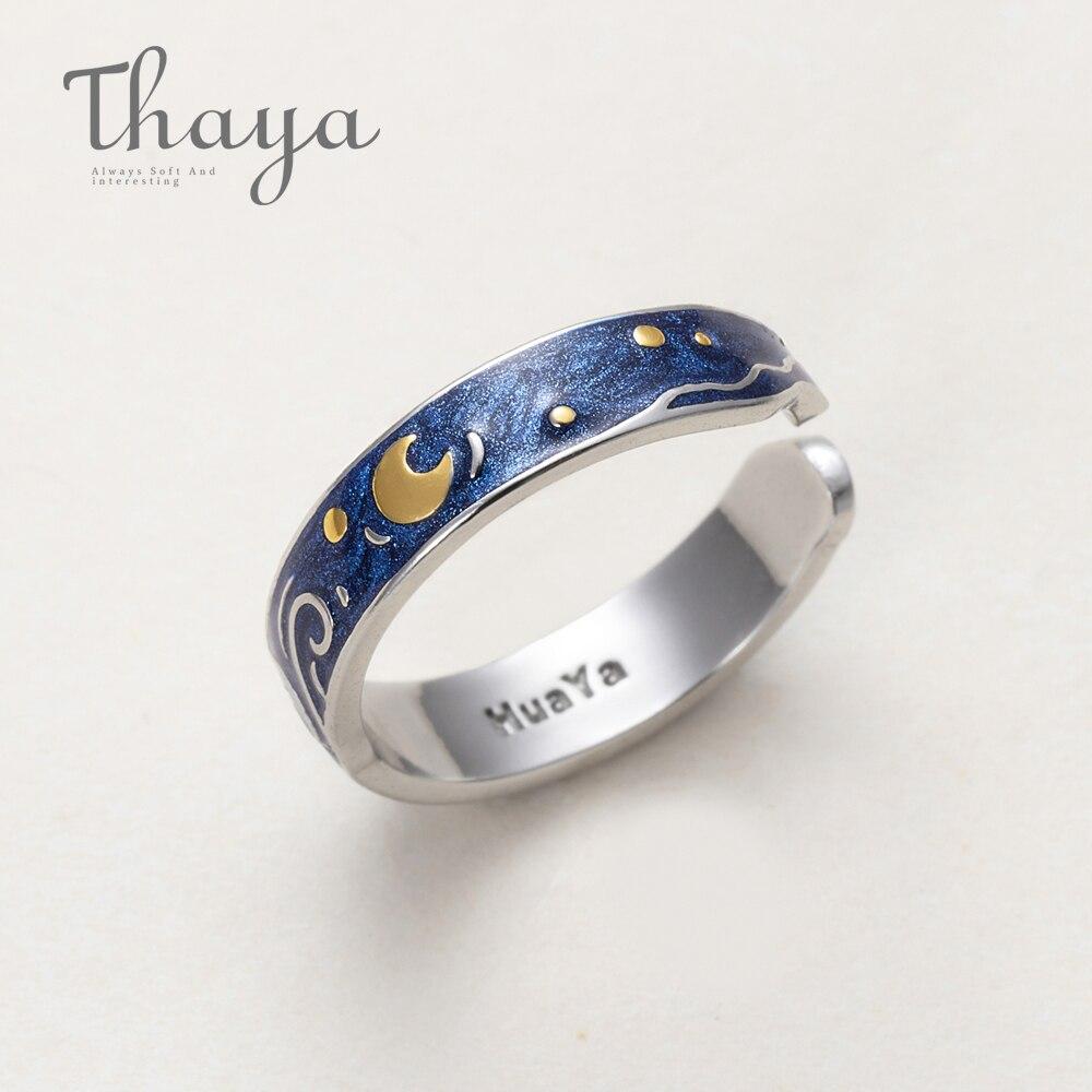 Thaya Echtem Van Gogh der Emaille Ringe Schmuck 925 Silber Glitter Deer Sky Gold Mond Sterne Leinwand Finger Ring Romantische für Frauen