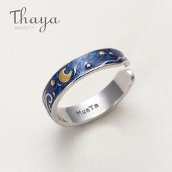 Thaya Подлинная Ван Гога эмаль кольца ювелирные изделия 925 серебро блеск олень небо золото Луна Звезда холст палец кольцо Романтический для