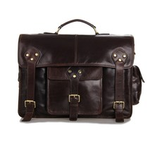 High Quality 100% Real First Layer Genuine Leather Breifcase for Men Travel Bags Business Portfolios Shoulder Bags #VP-J7200