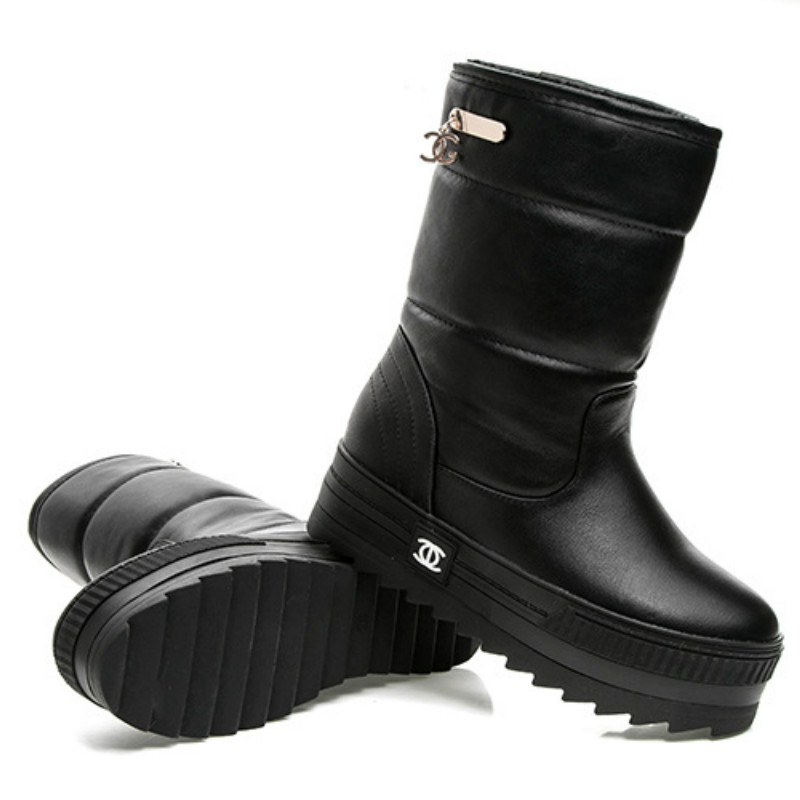 2017 winter new waterproof antiskid Mianwa thick soled boots in Korean white muffin canister boots women boot
