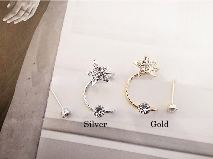 1 Piece Fashion Leaf Design Crystal Stud Earrings Tassel Earrings for Women Star Ear Cuff Jewelry Gold Color Silver Earrings 10