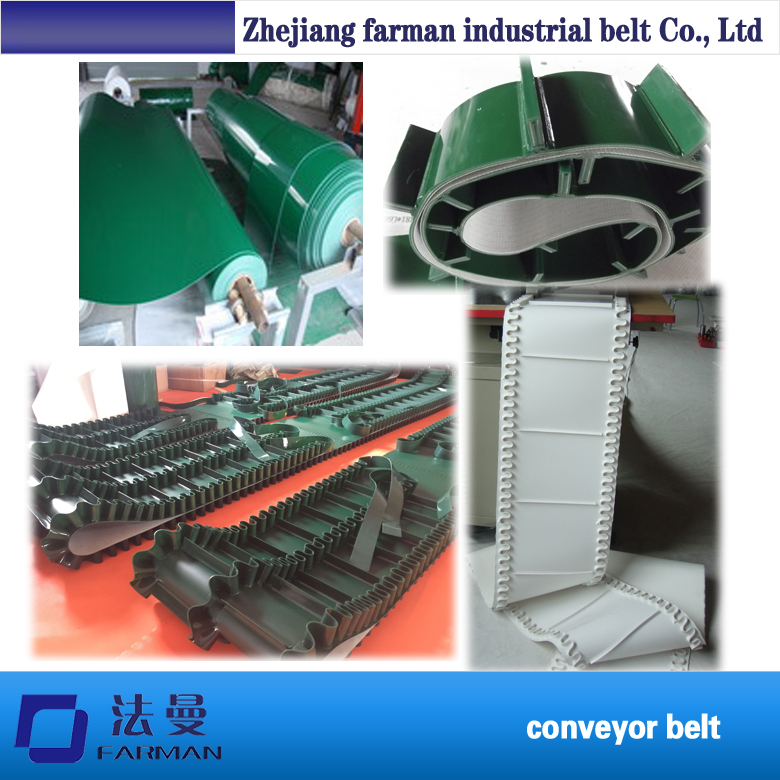 PU cleated conveyor belt with baffle plate for the food industry china pu conveyor timing belt with cleats by customer requirement