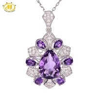 Hutang 6 3ct Natural Purple Amethyst Solid 925 Sterling Silver Pendant Necklace Gemstone Fine Jewelry Women