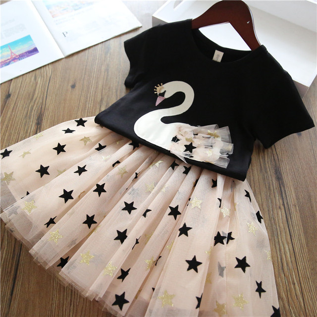 2pcs Swan Dresses Outfits for Birthday Party Baby Girl Clothes Princess Cartoon Swan Dress Children Kids Clothing Sets 3-8 Years
