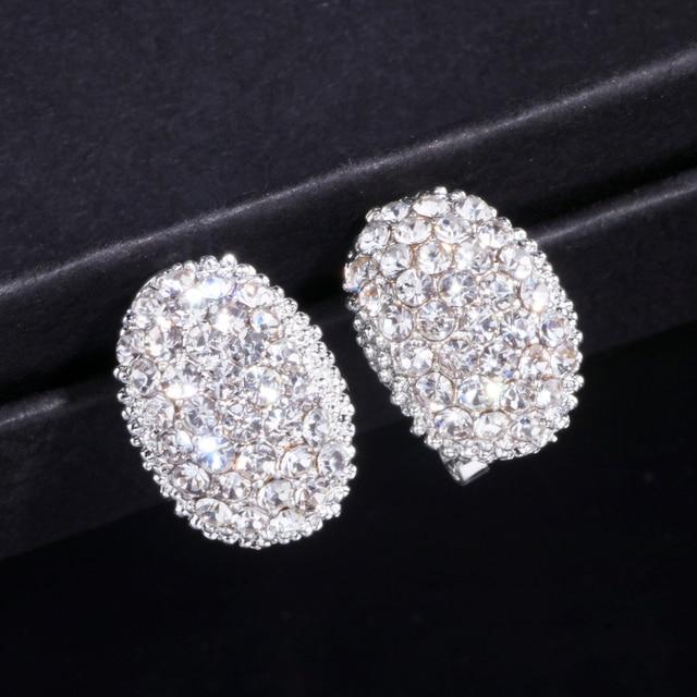 Classic Design Romantic Jewelry  Silver Color Zirconia Stone Stud Earrings Wedding Jewelry 5