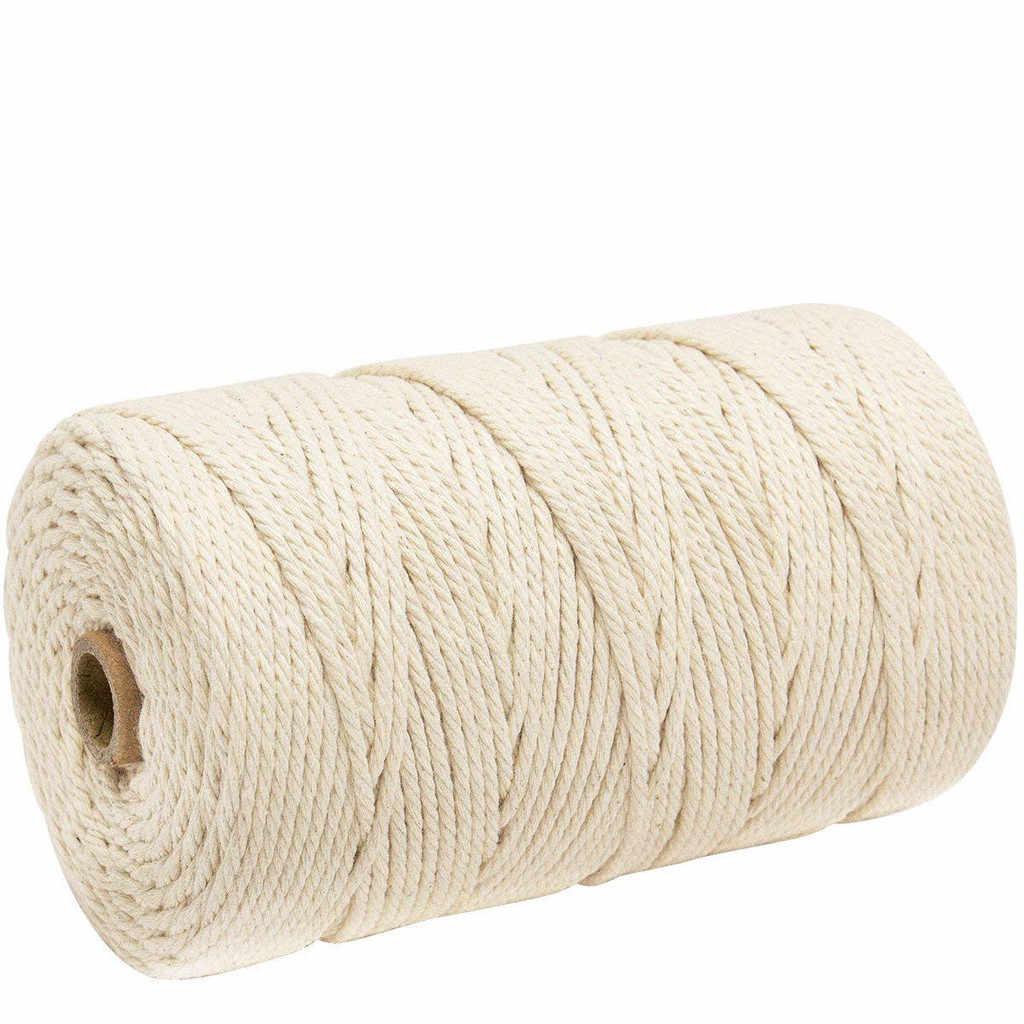 Новый 3 мм x 200 м натуральный ручной работы хлопок нить для макраме пряжа DIY настенное комнатное растение вешалка шнурок для ремесла вязание