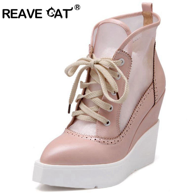 REAVE CAT Women High Wedge Sandal Lace Up Sandals Vintage Cutout Mesh Platform Sandals Elegant Thick