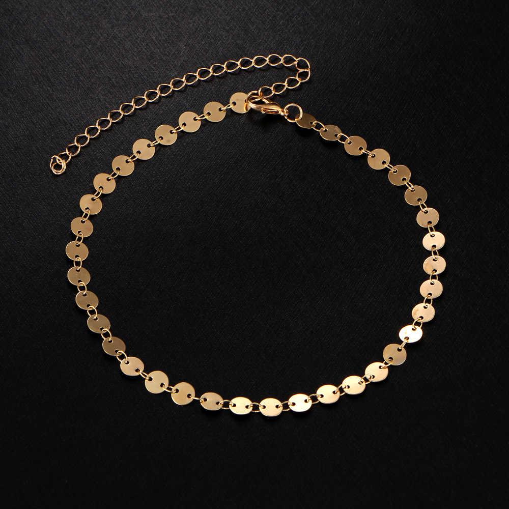 Женские ножные браслеты золотого и серебряного цвета; богемные пляжные босоножки на босиком; Круглый браслет на щиколотке с блестками; очаровательные ювелирные изделия с цепочкой на ногу