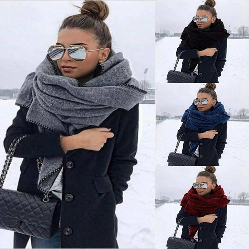 Winter Women Long Scarf Cashmere Fashion Warm Solid Color Triangle Shawl Soft Wool Scarf Hot Sale Women Solid Warm Hijab Scarf
