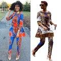 2017 Novo 2 Peça Conjunto Bodysuit Mulher Dashiki Define Moda impresso Das Senhoras Calças Calças Terno Mulheres Escritório Ternos Para Africano Bodycon