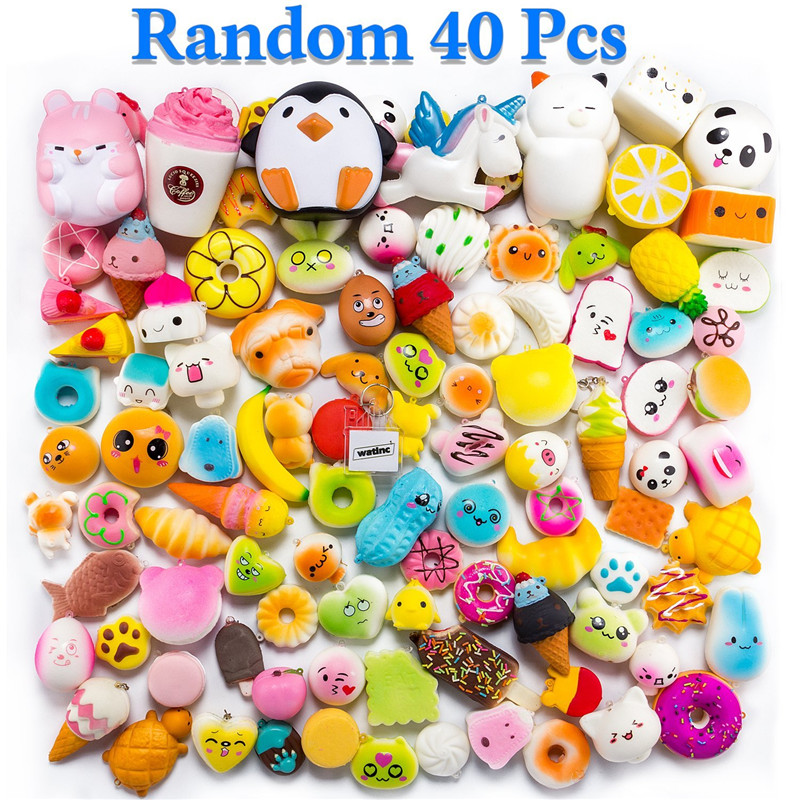 Random 40Pcs Jumbo Medium Mini Slow Rising Squishies Package Cut Kawaii Scented Mini Soft Squishy Bread Toys Key