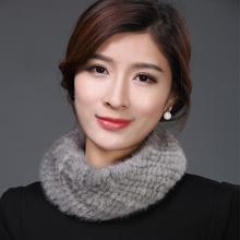 IANLAN Dual Use Women Scarf Headband Winter Real Fur Neckerchiefs Knitted Mink Neckpiece Ladies Elasticity Muffler IL00042