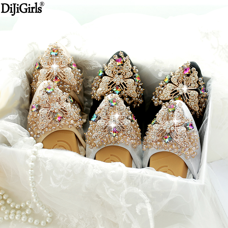 Plus Size 35-42 Ladies Flat Shoes Fashion Bling Butterfly Rhinestone Women Flats Casual Leather Ballet Flats Fold Up Gold Shoes