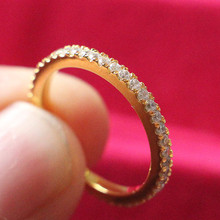 Настоящее серебро 925 проба полное вечность желтое золото цвет кольцо 0.55Ct синтетические бриллианты женское кольцо обручальное кольцо
