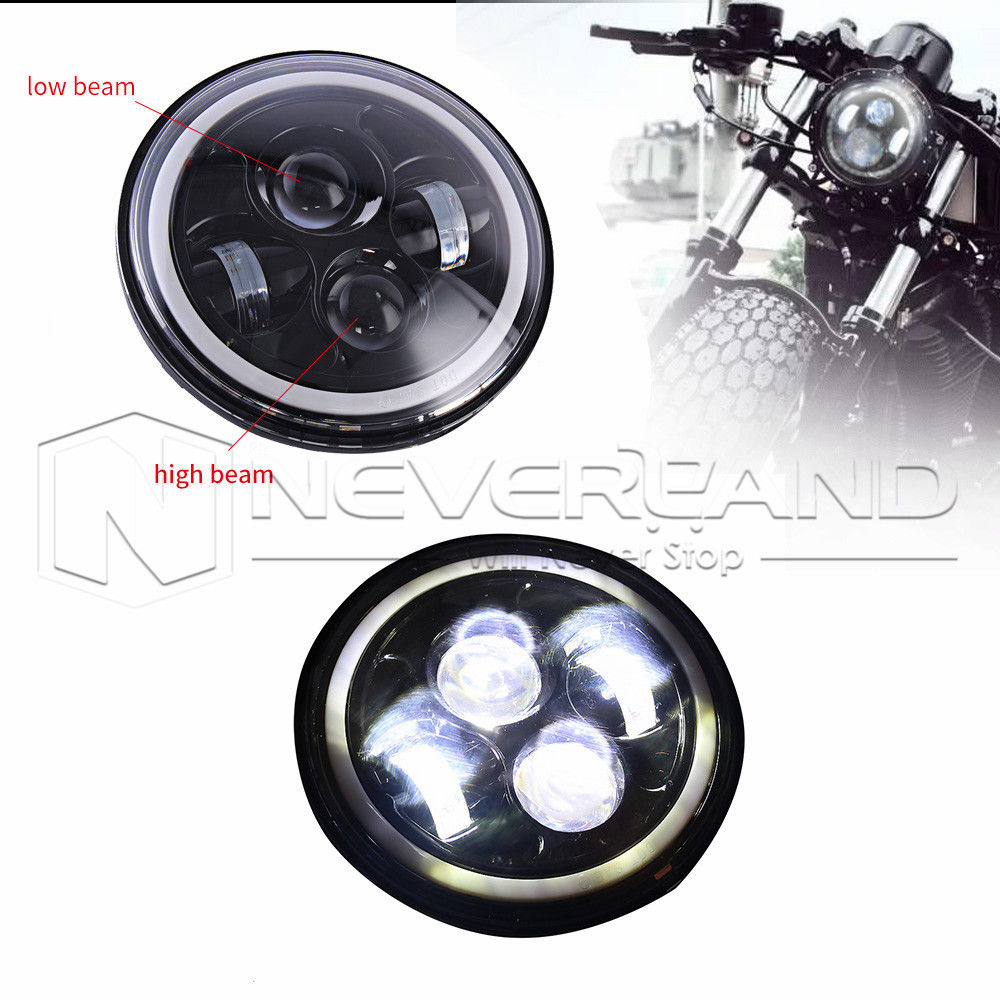 Neverland 7 Motor Projector Daymaker LED HID Angel Eye DRL Motorcycle Headlight Bulb For Harley D35 7 motorcycle daymaker rgb led headlight
