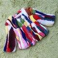 Crianças de Pele De Coelho Verdadeiro Casaco de Inverno Quente Curto Casaco de Retalhos Colorida pele de Coelho Do Bebê Roupas Crianças Quente FurCoat Natural C #17